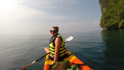 kayaking with bold earth