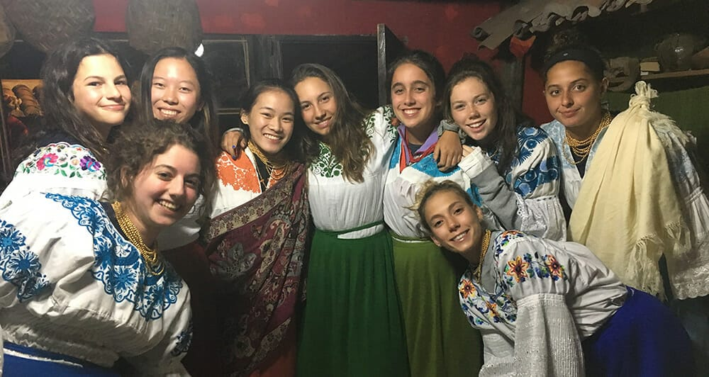 Teenagers dressed in traditional Peruvian clothes